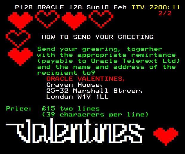 Valentine's greetings