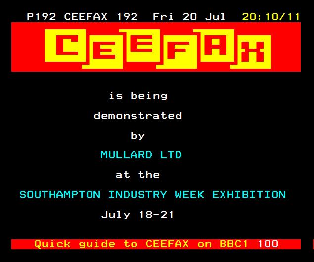 Ceefax Demo 1979